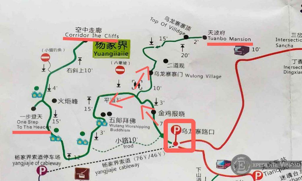 mapa miradores ruta como visitar yangjiajie