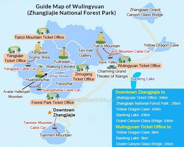 mapa del parque de zhanjjiajjie