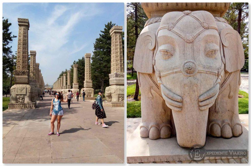 Columnas con elefantes en Yungang
