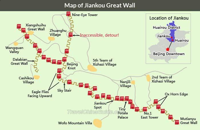 Mapa de la Gran Muralla de Jiankou