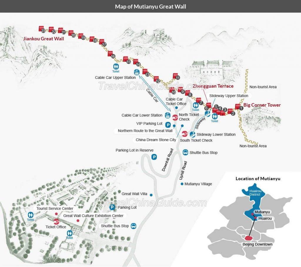 Mapa de la Gran Muralla de Mutianyu