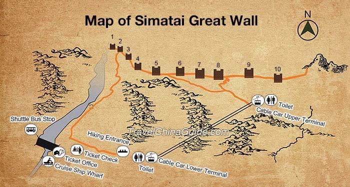 Mapa de la Gran Muralla de Simatai