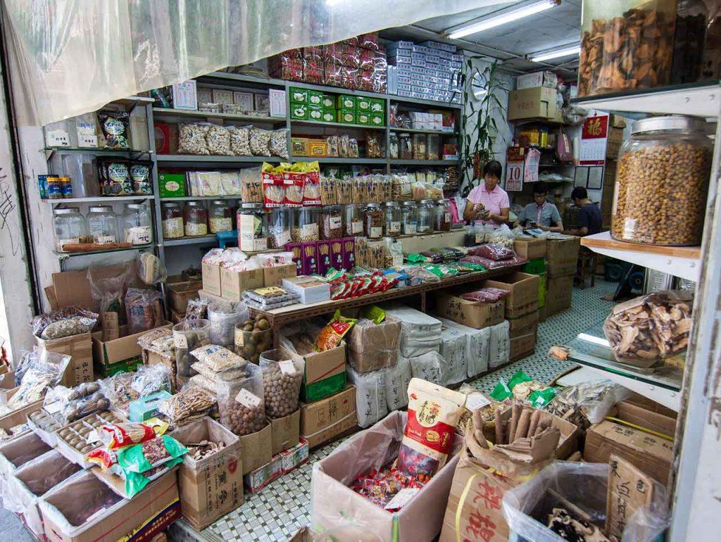 Tiendas de comida en Sheung Wan, Hong Kong