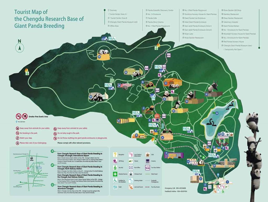 Mapa centro de conservación y cría de osos panda Chengdu
