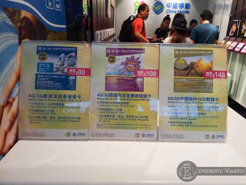 Opciones para tarjetas sim de la compañía China Mobile