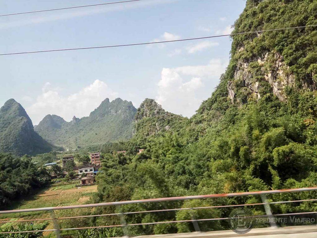 Vistas desde el tren a Guilin