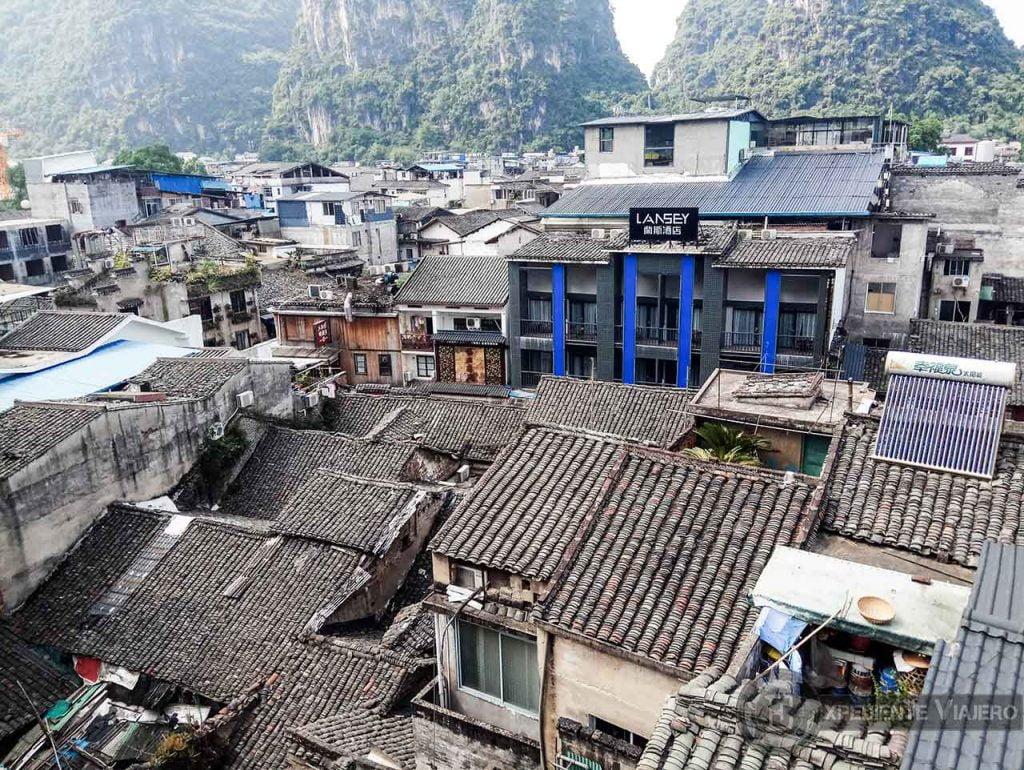Hostel en Yangshuo con vistas desde la azotea