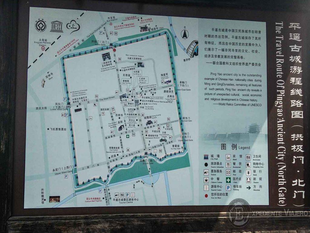 Mapa de Pingyao