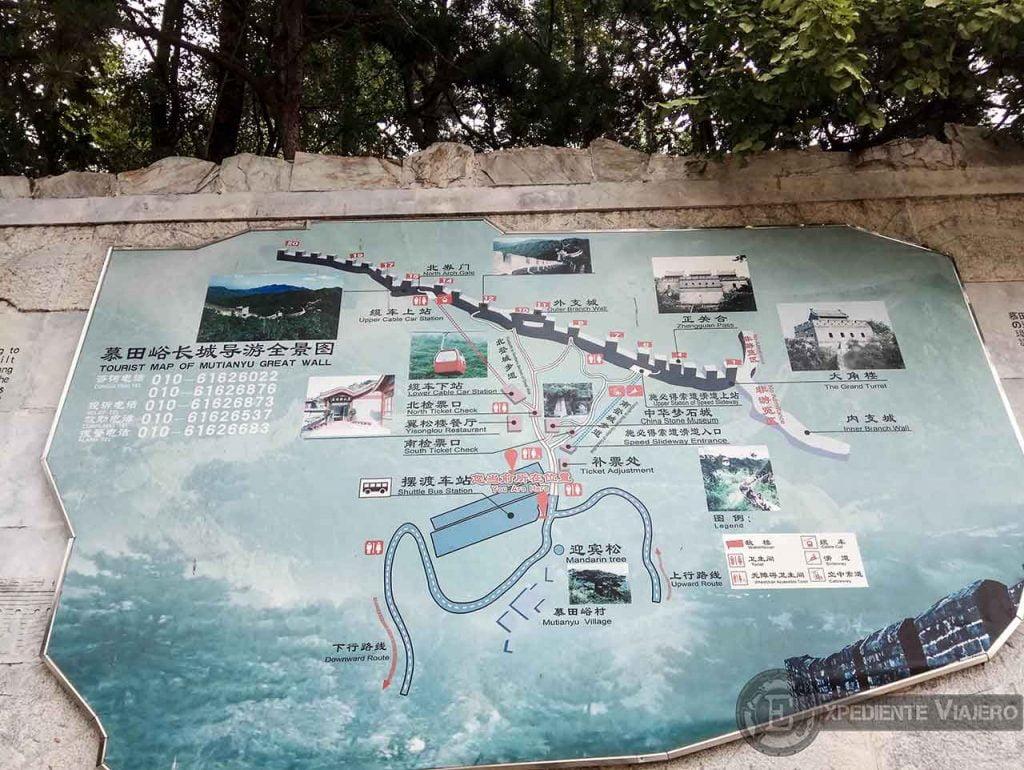 Mapa turístico de Mutianyu
