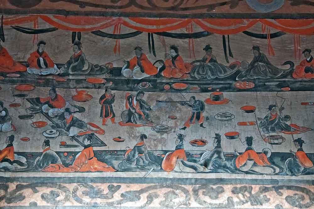 Mural de una fiesta durante la dinastía Han
