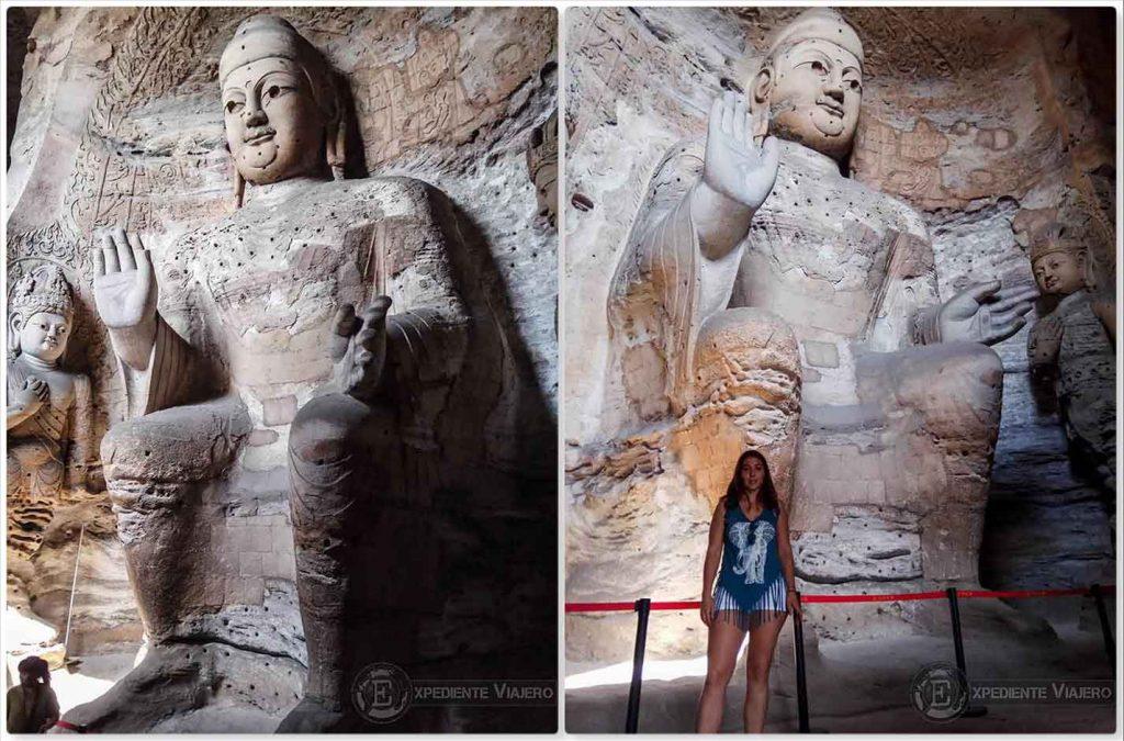 Buda y Bodhisattva de la cueva 3 (Grutas de Yungang), en Datong