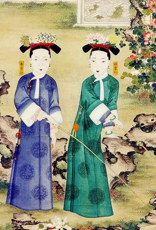 Concubinas del emperador Xianfeng pescando en un estanque