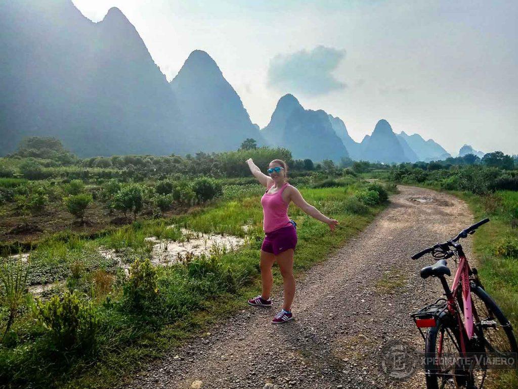 Campos de arroz durante la ruta en bici por Yangshuo