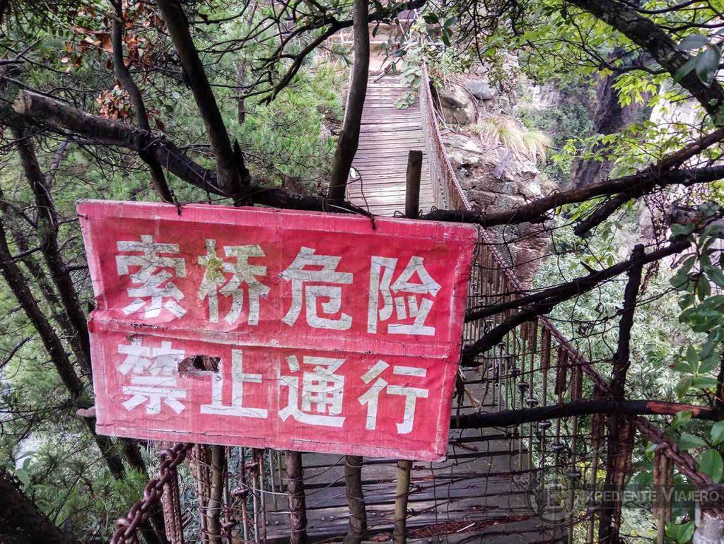 Puente colgante en Zhangjiajie