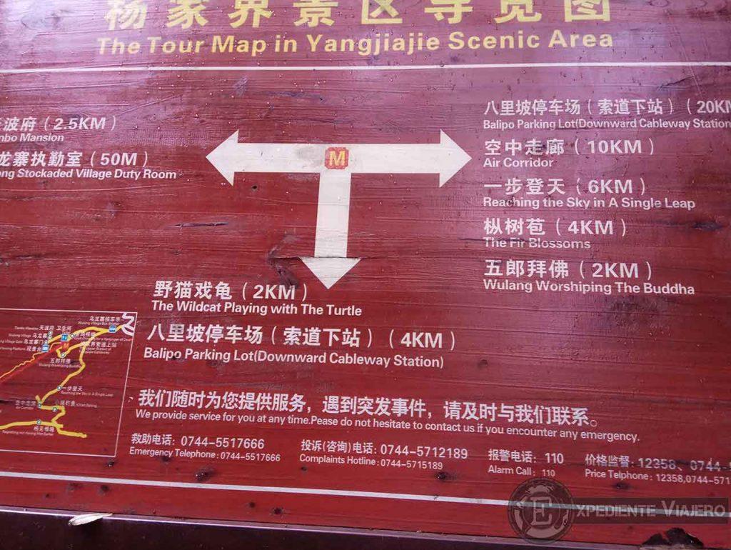Mapa con los miradores de Yangjiajie