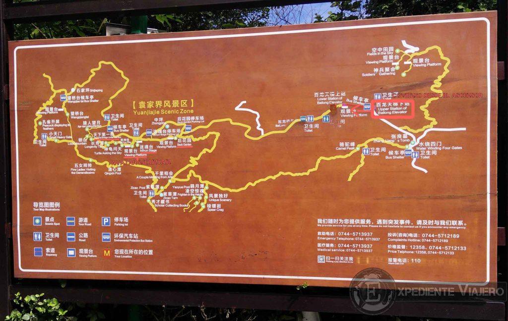 Mapa de las montaás de Avatar (Yuanjiajie)