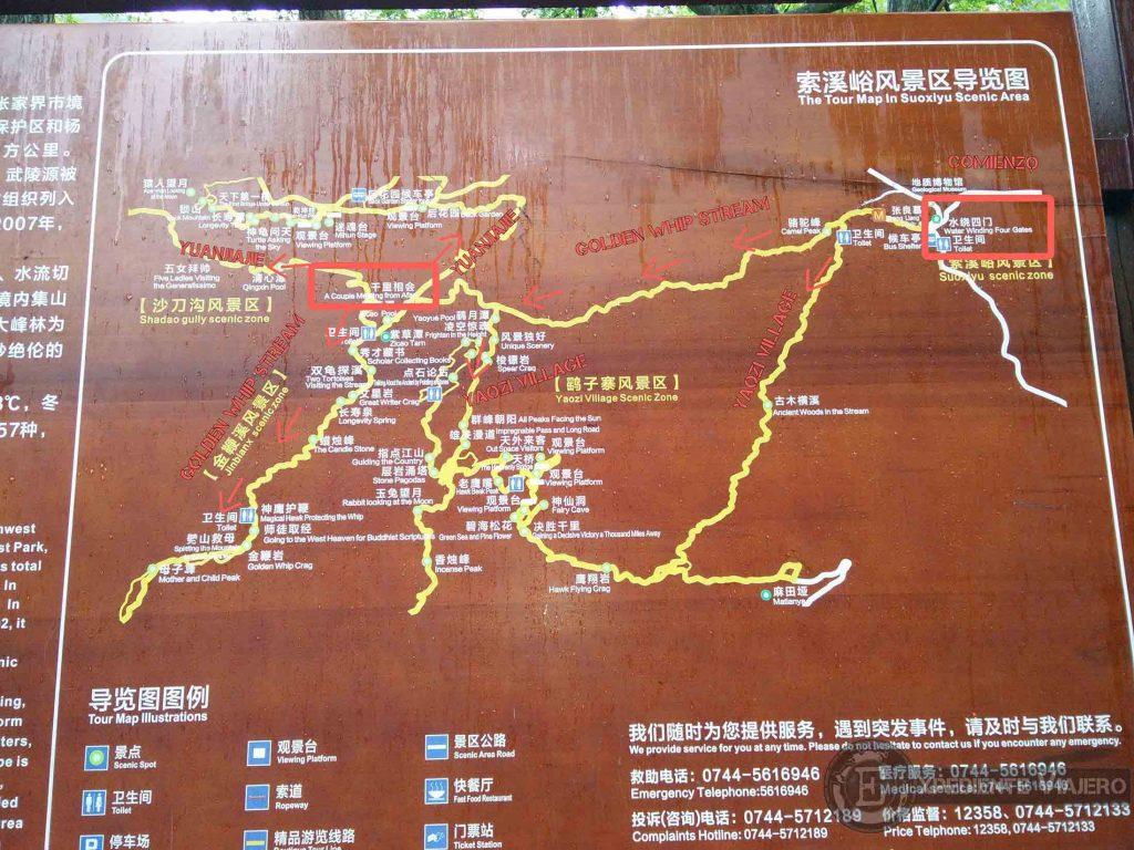 Mapa con ruta del Golden Whip Stream
