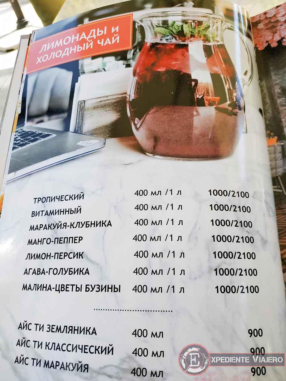 Carta de restaurante en cirilício