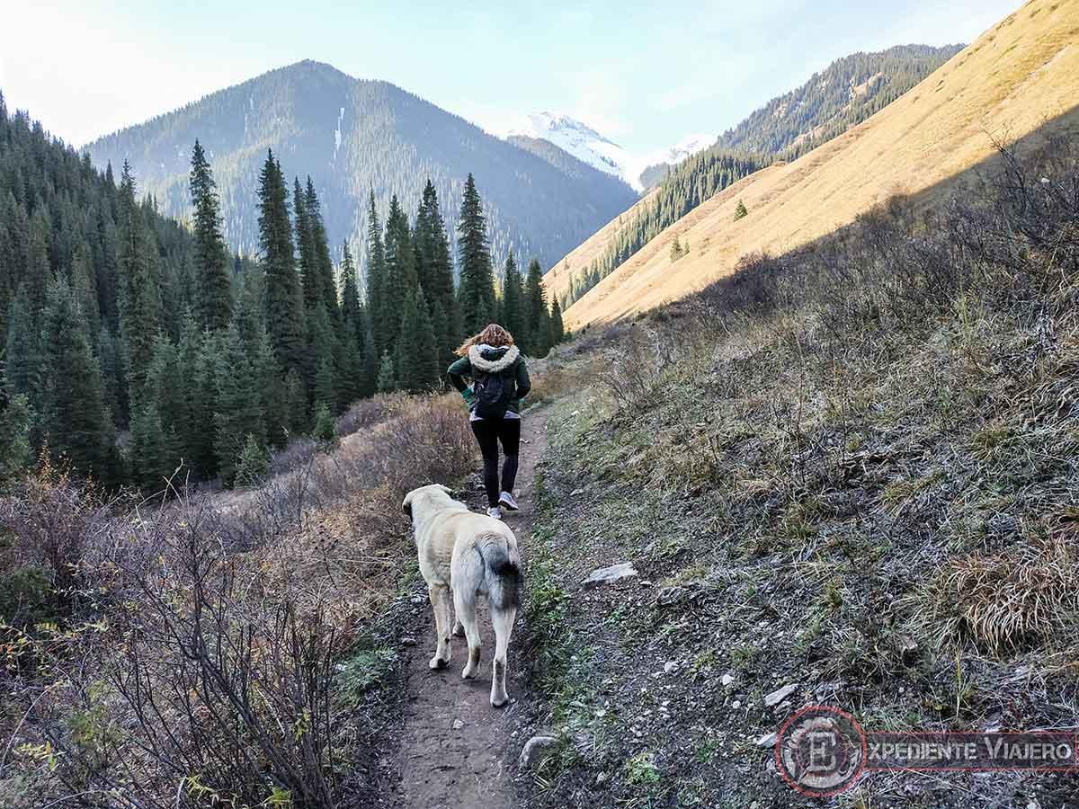 Andando junto a las montañas