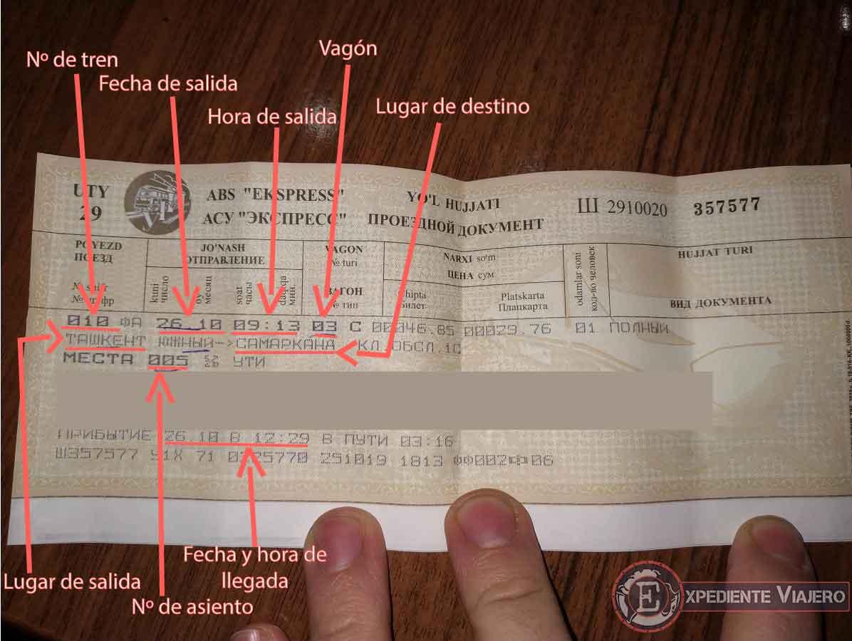 Cómo leer un billete de tren de Uzbekistán