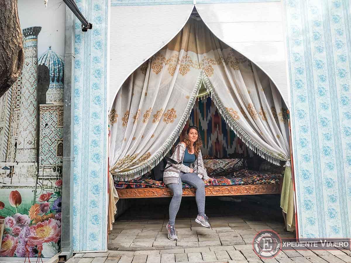 Típica colchón uzbeko en el hotel