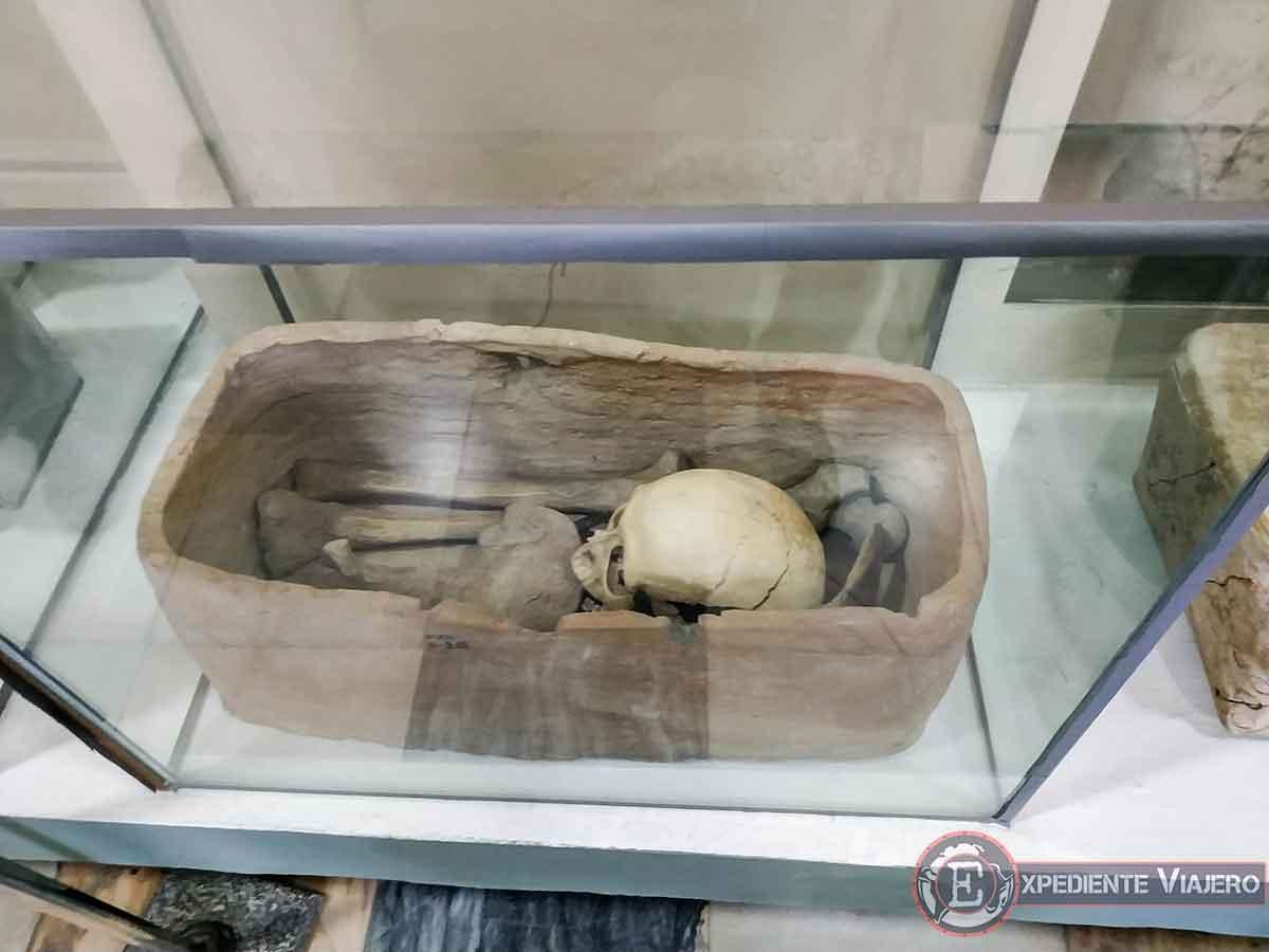 Huesos humanos en el museo Afrosiab