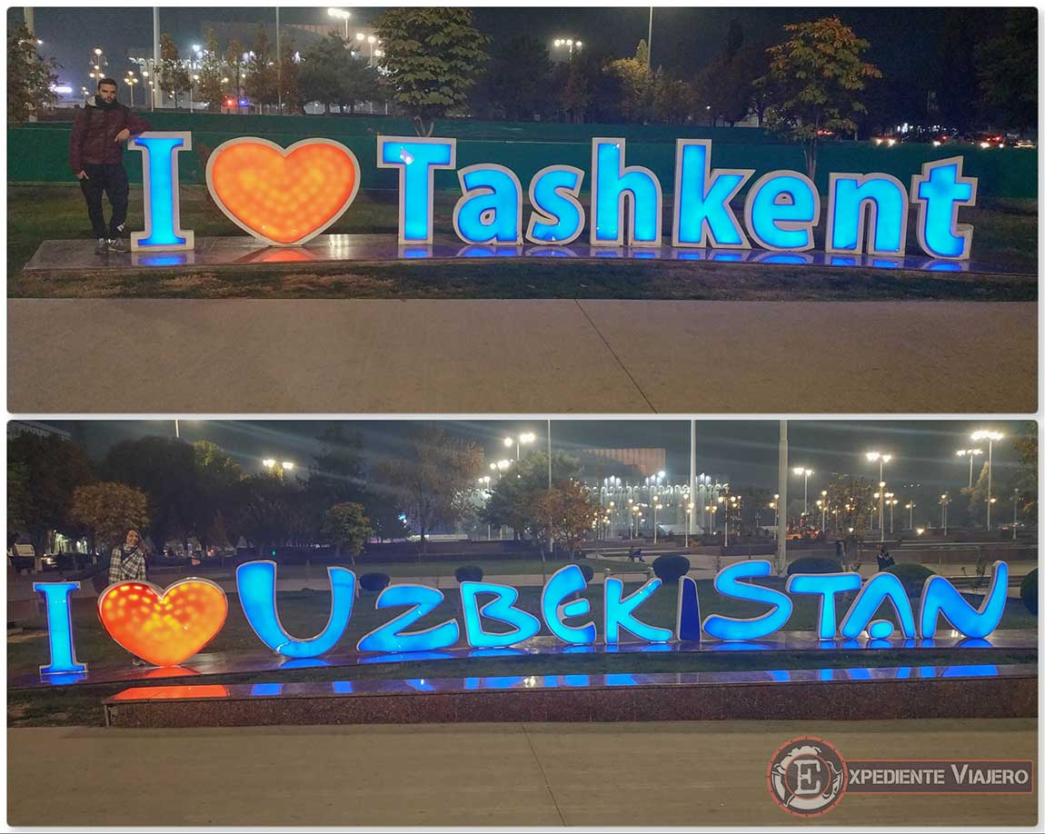 "Letreros de ""i love Tashkent y Uzbekistán"""
