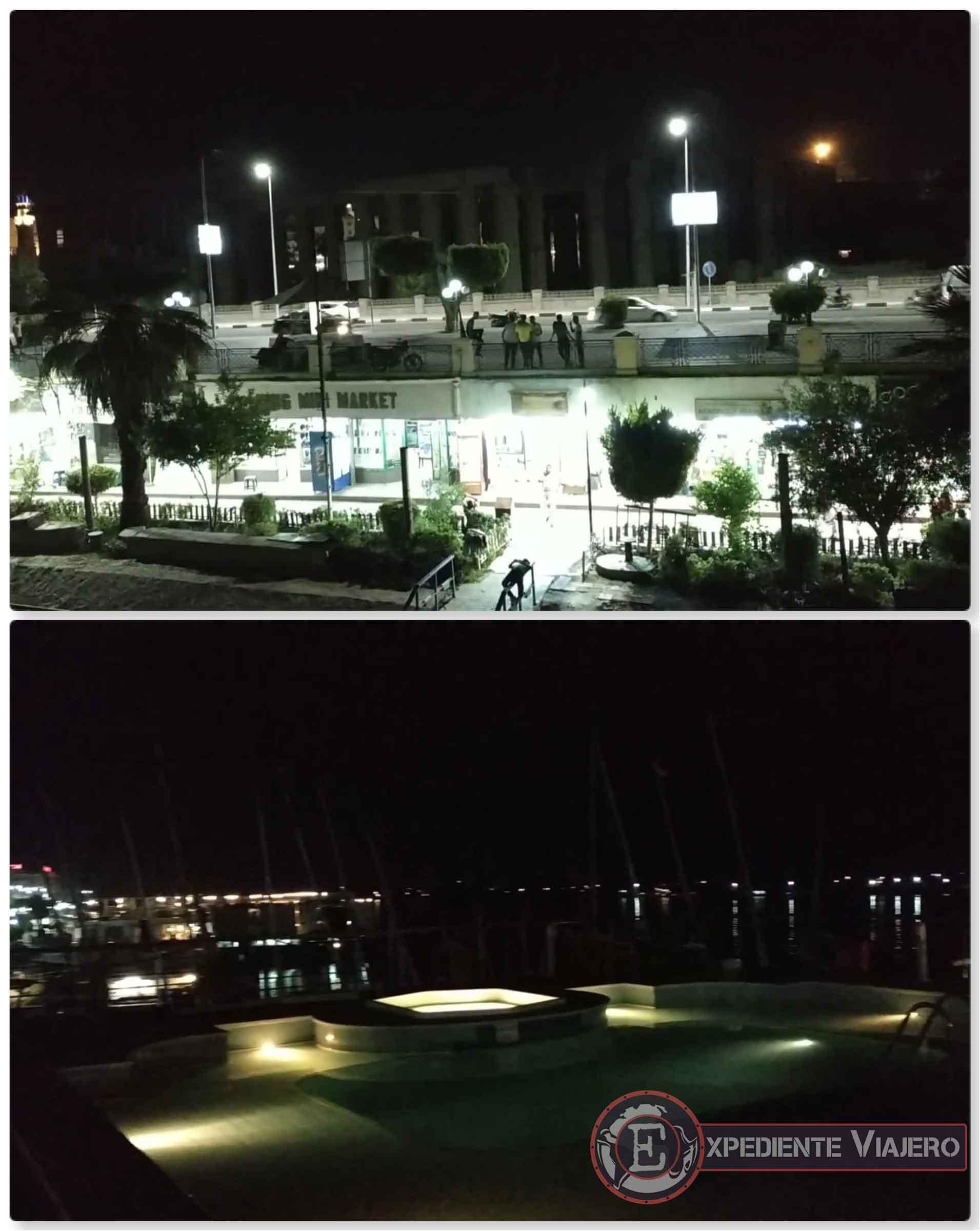 Vistas nocturnas de Luxor desde el barco