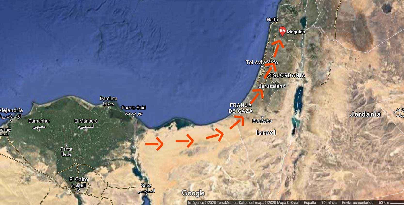 Mapa del ejército de Tutmosis III cruzando el desierto hasta Megido