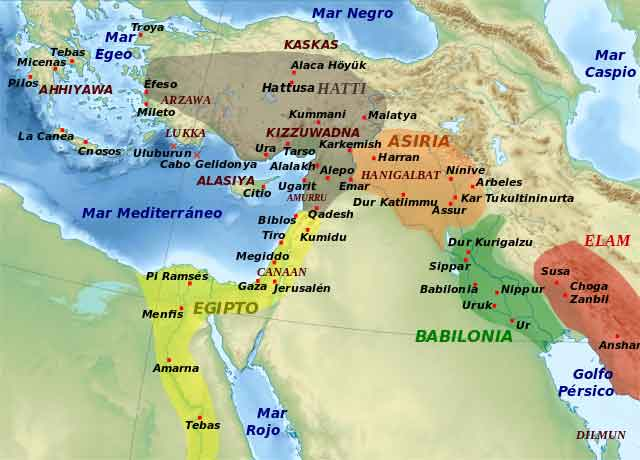 Mapa de los cananeos e hititas