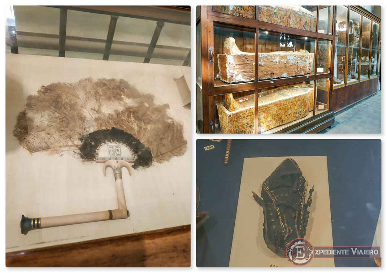 Objetos curiosos en el Museo de El Cairo (abanico, sarcófagos y sandalia)