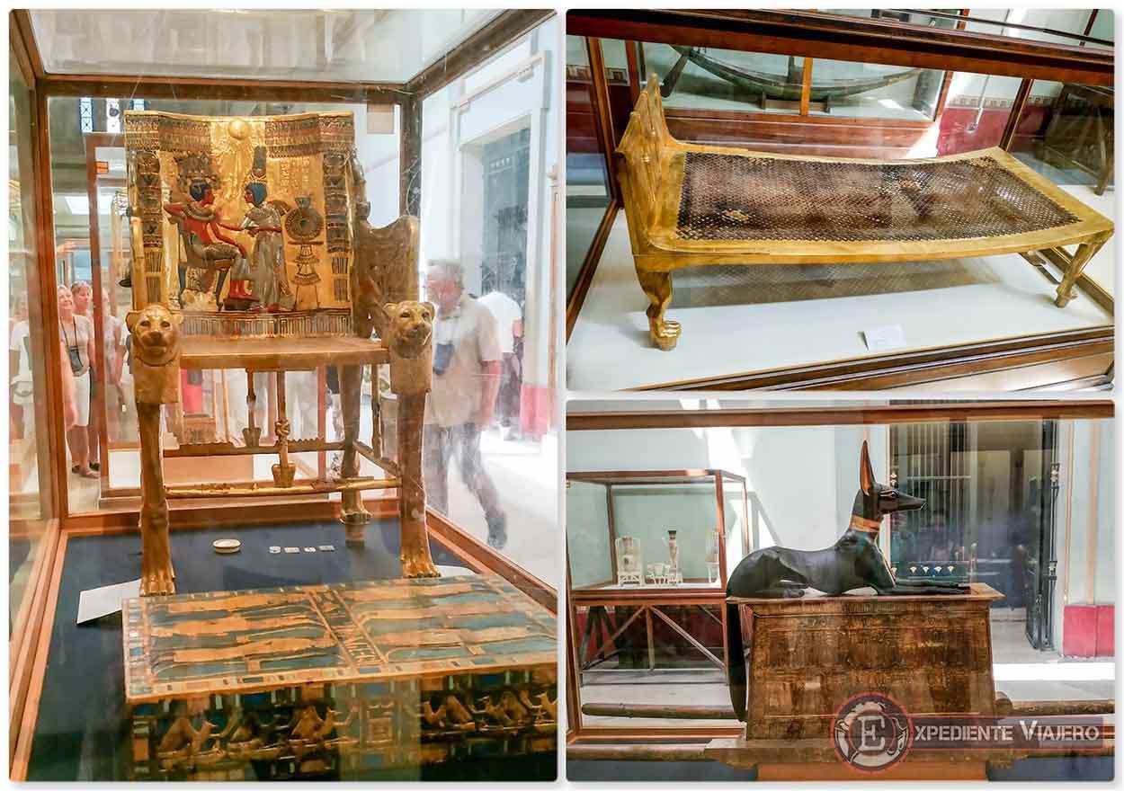 Trono, cama e imagen de Anubis, de la tumba de Tutankamón