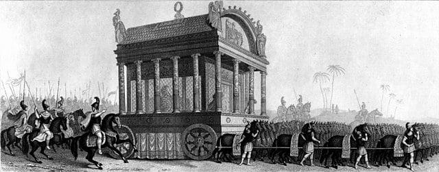 Carruaje con el ataúd y cuerpo de Alejandro Magno