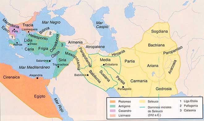 Mapa con la división del imperio de Alejandro Magno