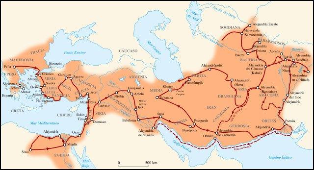 Mapa del imperio de Alejandro Magno