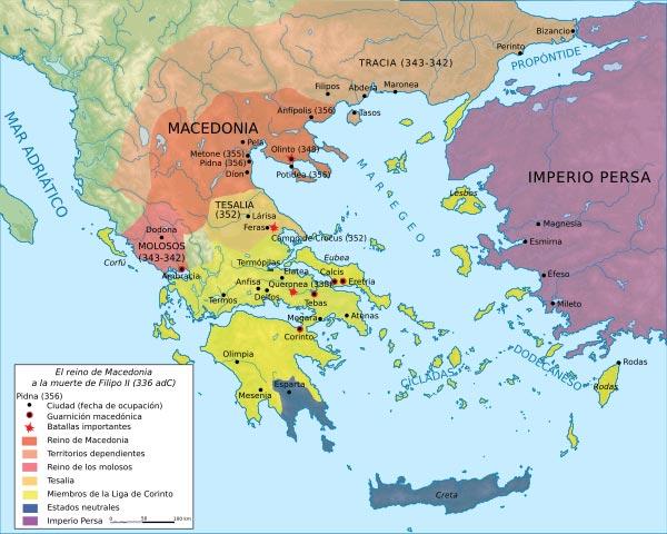 Mapa de Macedonia en la época de Alejandro Magno