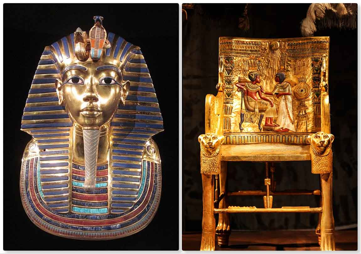 Máscara y trono de Tutankamón