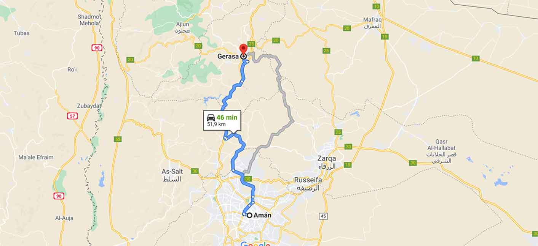 Mapa del camino de Ammán a Jerash