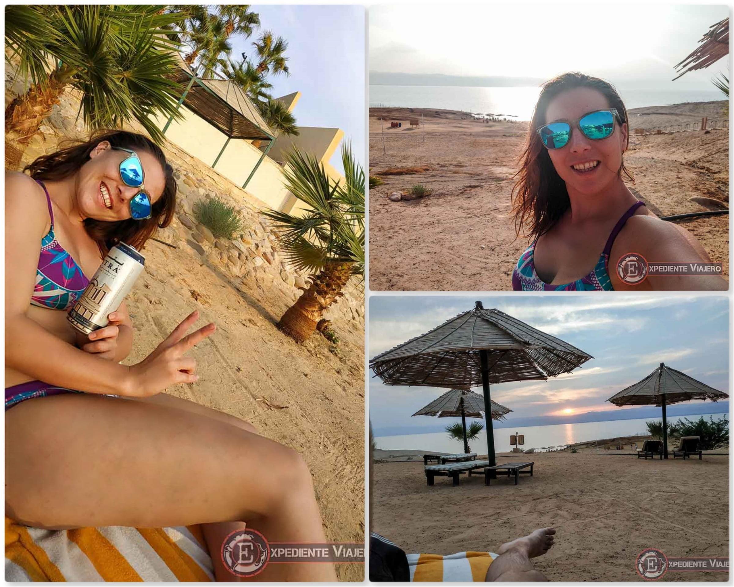 Disfrutando del atardecer en el Mar Muerto