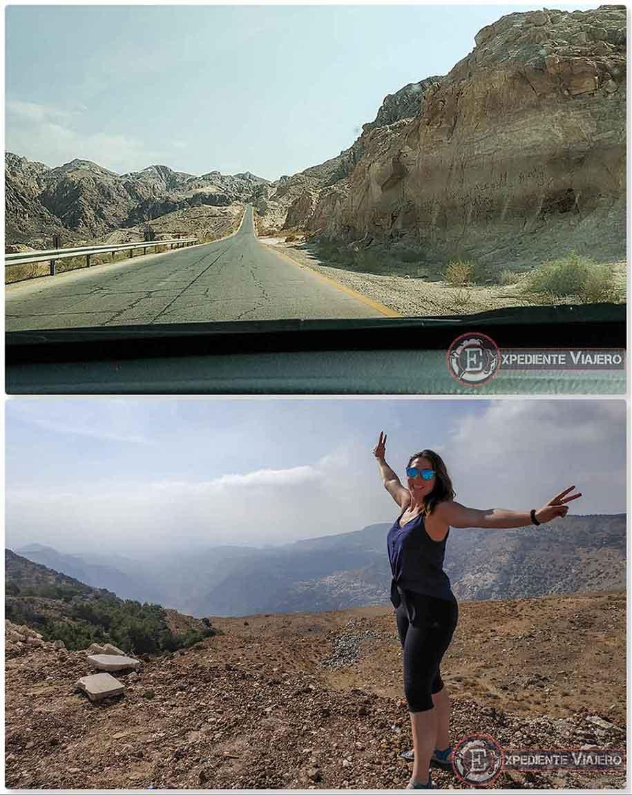 Carretera de montaña para llegar a Little Petra