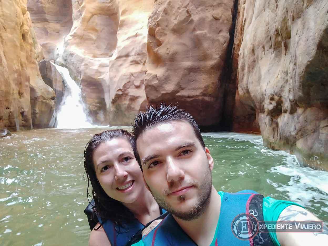 Cascada final del Siq Trail en Wadi Mujib