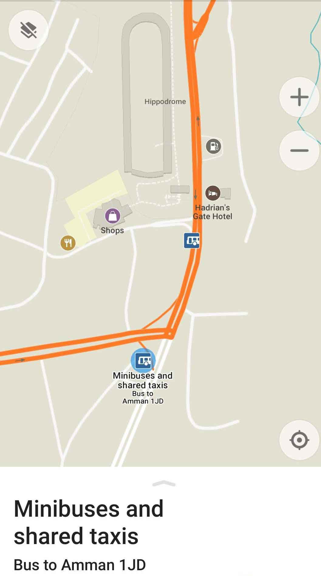 Mapa con la parada de minibuses y taxis compartidos entre Ammán y Jerash
