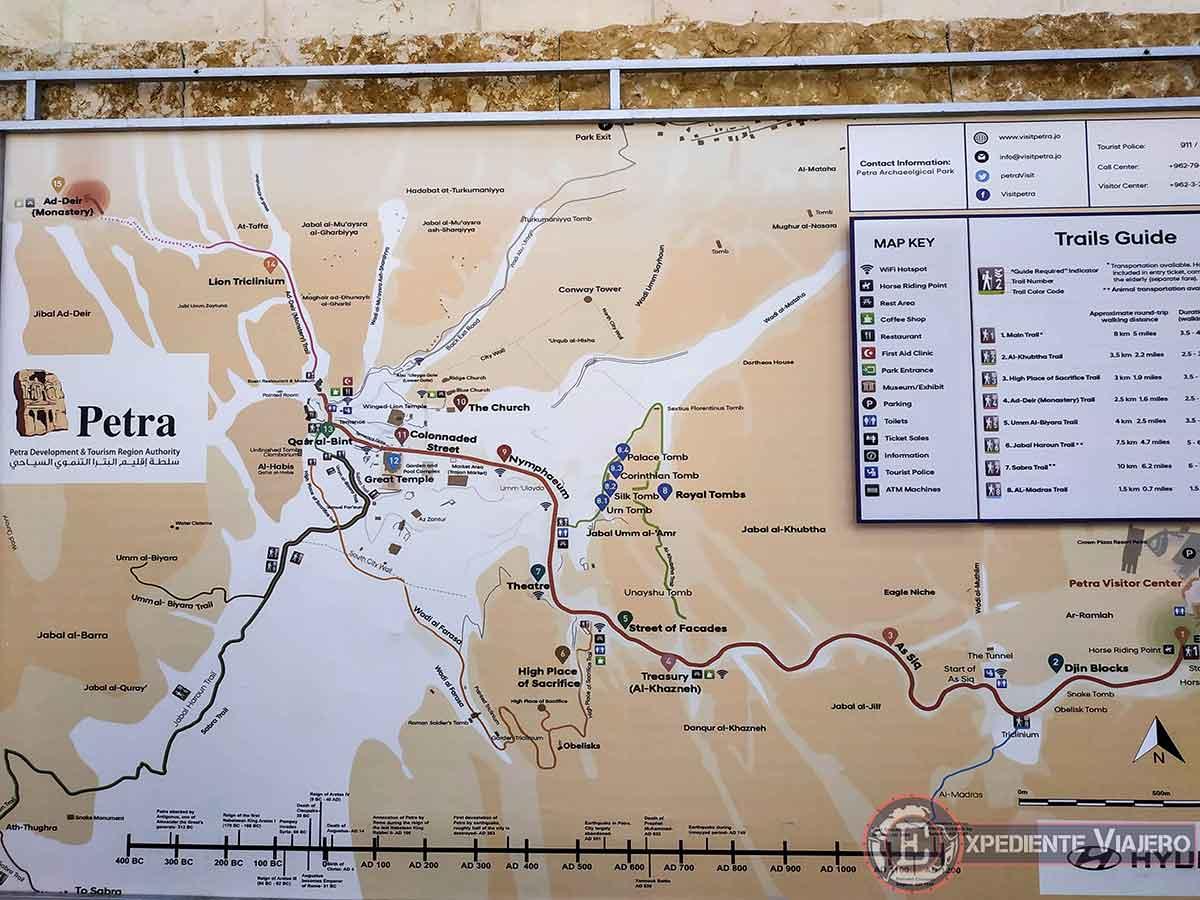 Mapa con las rutas de Petra