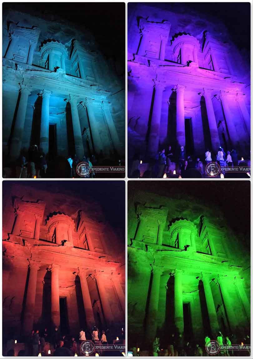 El Tesoro de Petra iluminado de diferentes colores