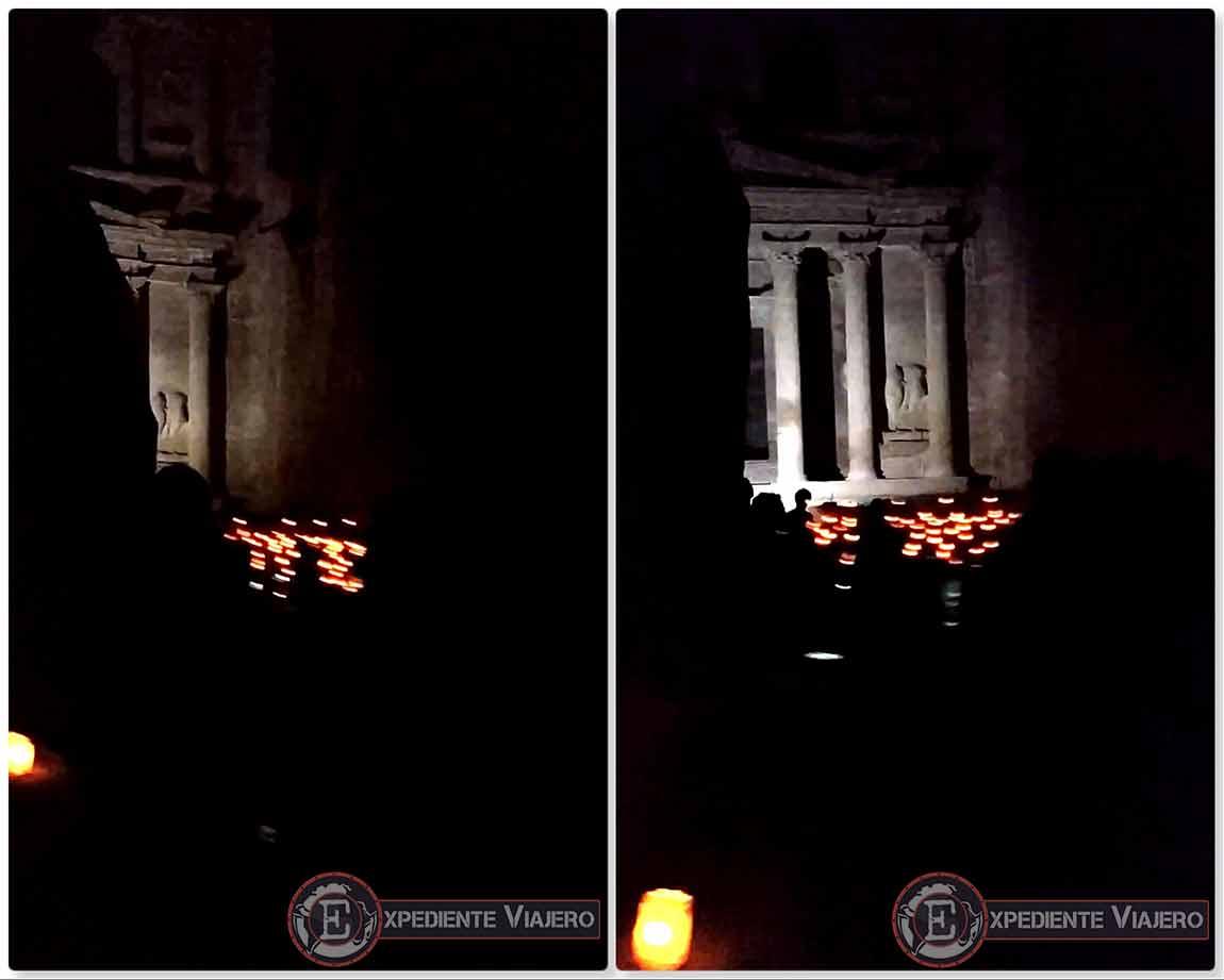 Imagen del Tesoro iluminado por la luz de las velas