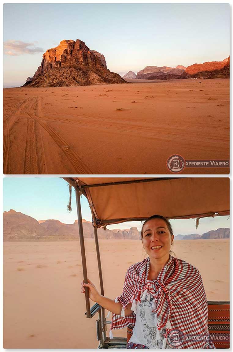 Camino a nuestro campamento en Wadi Rum