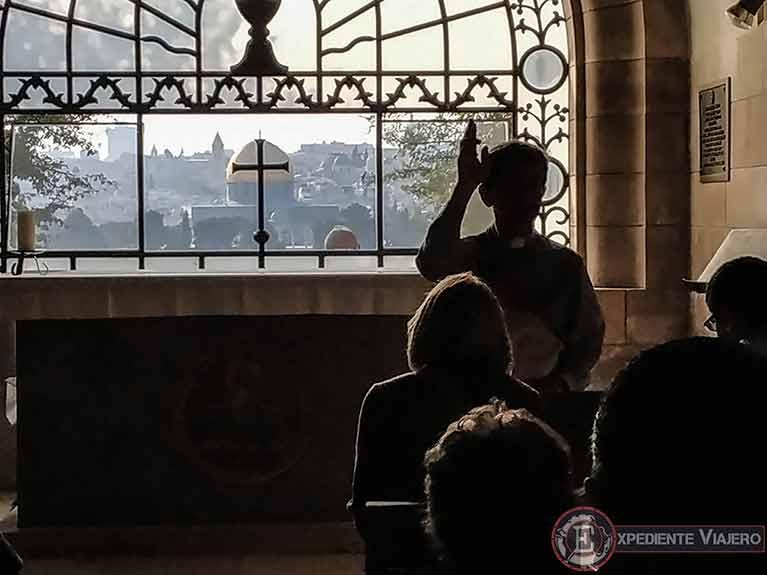 Vistas de Jerusalén y la Cúpula de la Roca desde la iglesia Dominus Flevit
