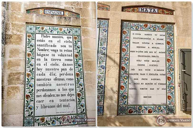 Padre Nuestro en español y maya en la Iglesia del Pater Noster