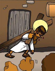 Vía Dolorosa: Jesús carga con la cruz