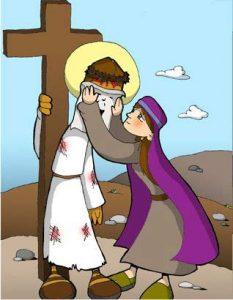 Vía Dolorosa: Verónica limpia de sangre la cara de Jesús